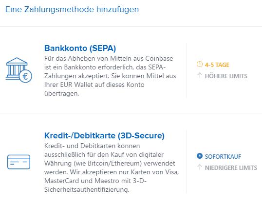 Bitcoins kaufen: SEPA oder Kreditkarte