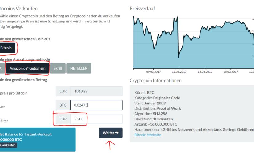 AMAZON-Gutscheine mit Bitcoins (oder Ethereum) kaufen